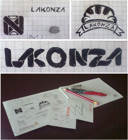 Черновики логотипа Lakonza