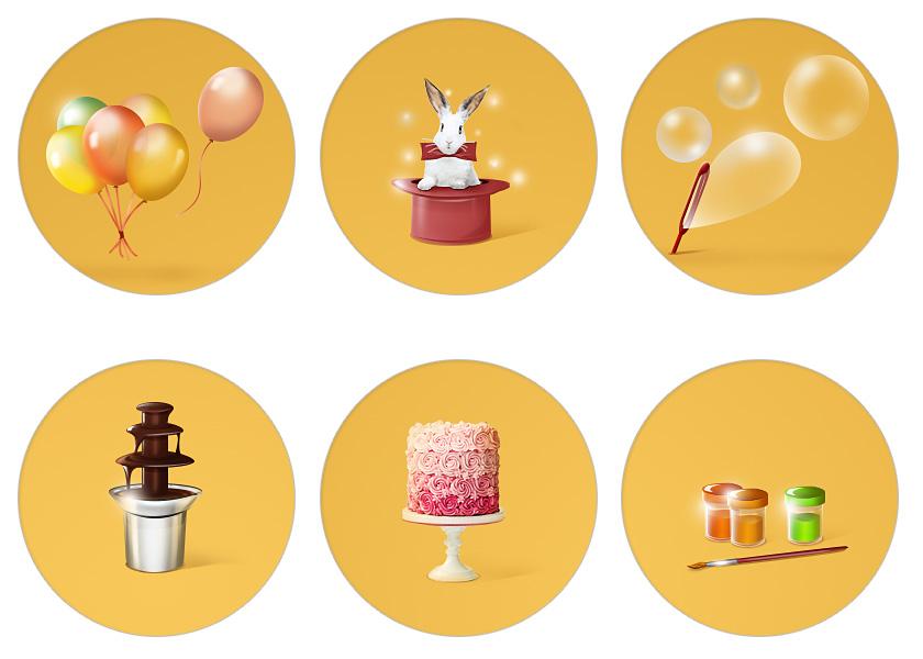 Дизайн праздничного агентства - тематические иконки